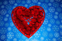 Red Heart on Blue snowflakes